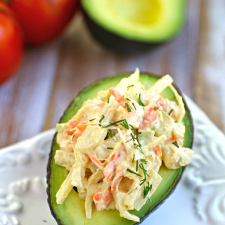 Avocado stuffed with Hearts of Palm Crabless Salad, perfect for Meatless Monday