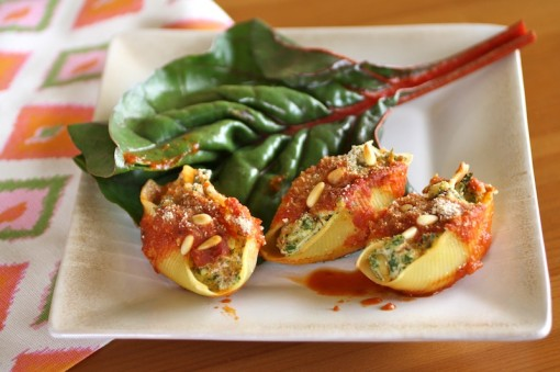 Swiss Chard and Tofu Stuffed Shells