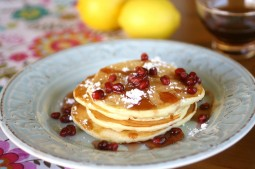 Lemon Ricotta Pancakes with Pomegranate Syrup