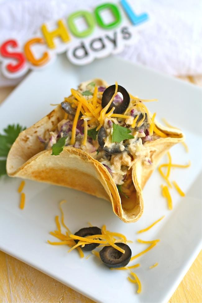 mini tacos bowl filled with jalapeno tuna salad