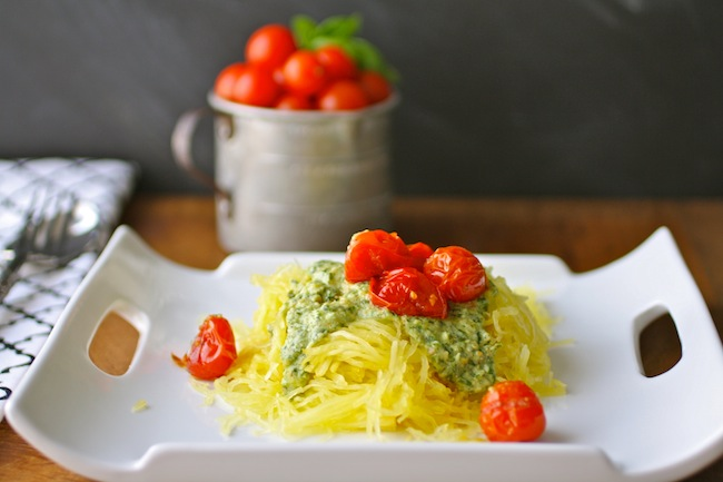 "plate of Spaghetti Squash ""Pasta"" with Pesto and Roasted Tomatoes"