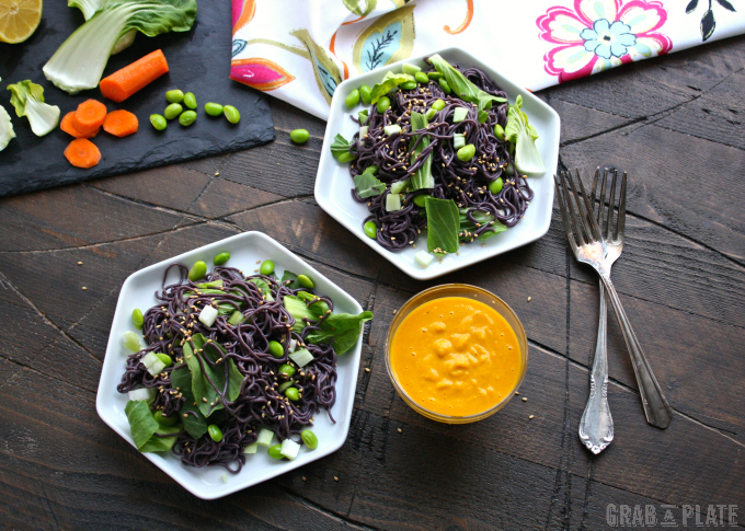 the green of the baby bok choy and edamame, and the orange dressing ...