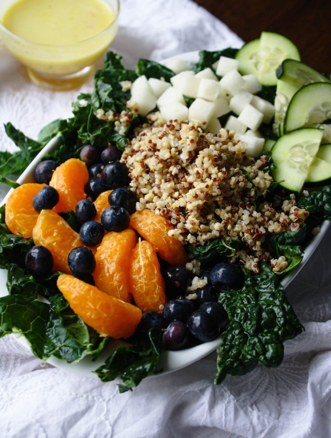 Kale-Quinoa Salad with Orange Vinaigrette is a super-hearty salad. It's easy to make, and has loads of good ingredients!