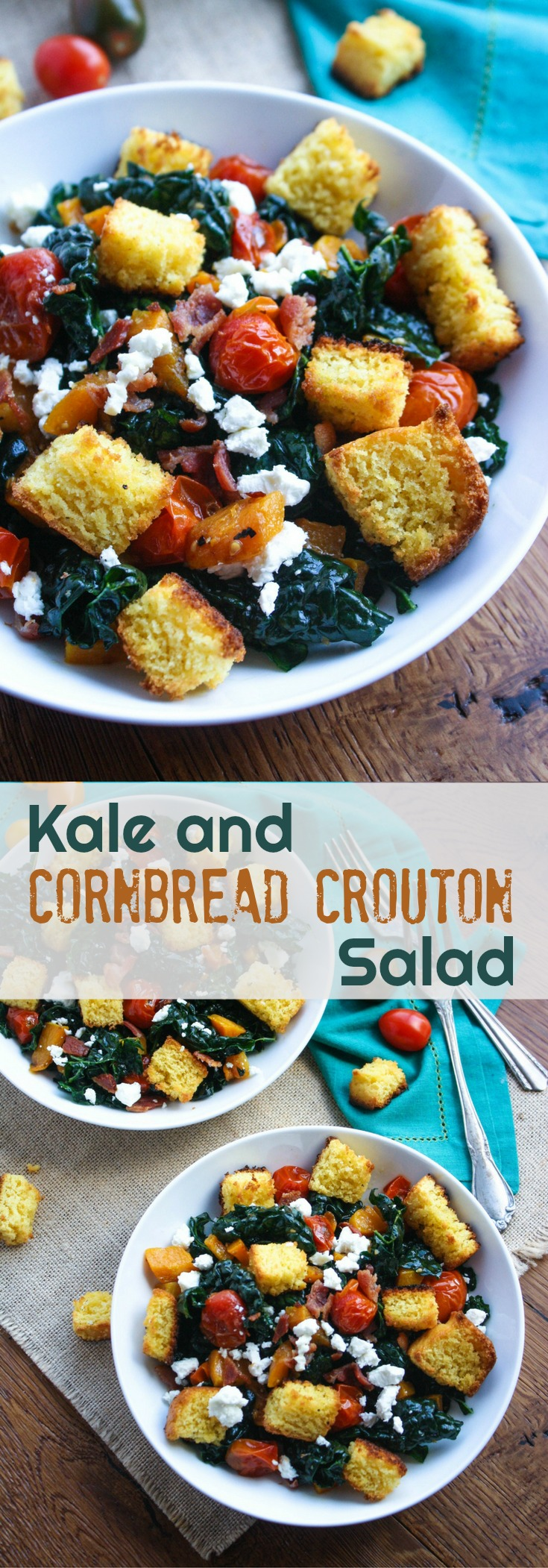 Kale and Cornbread Crouton Salad is welcome, especially after your indulgent Thanksgiving meal! You'll love the cornbread croutons in this salad!