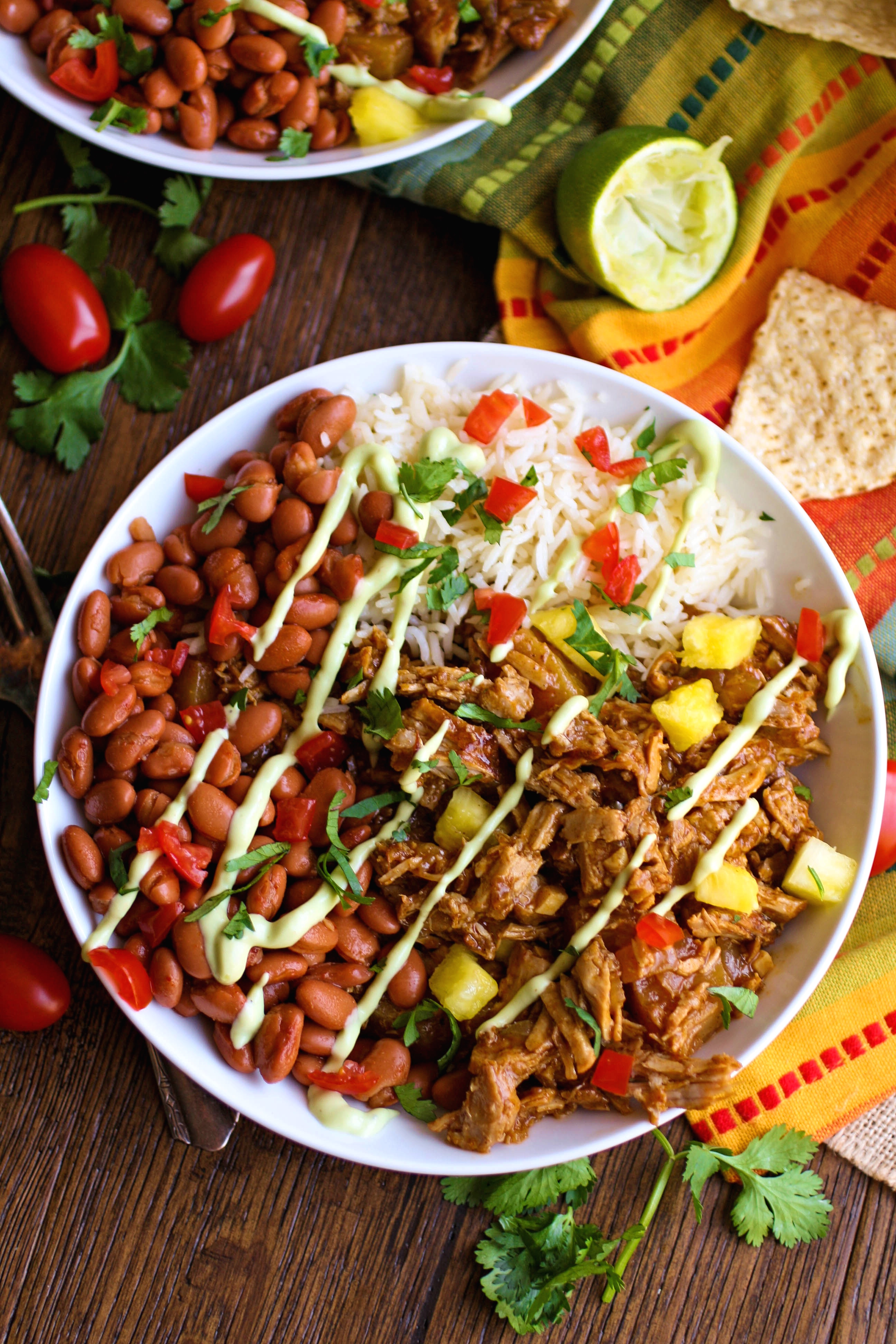 Pork al pastor bowls are a Mexican-inspired favorite in my house. These bowls forgo the taco shells, but you won't miss them!