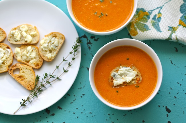 A bowl of Roasted Tomato Bisque with Blue Cheese Croutons