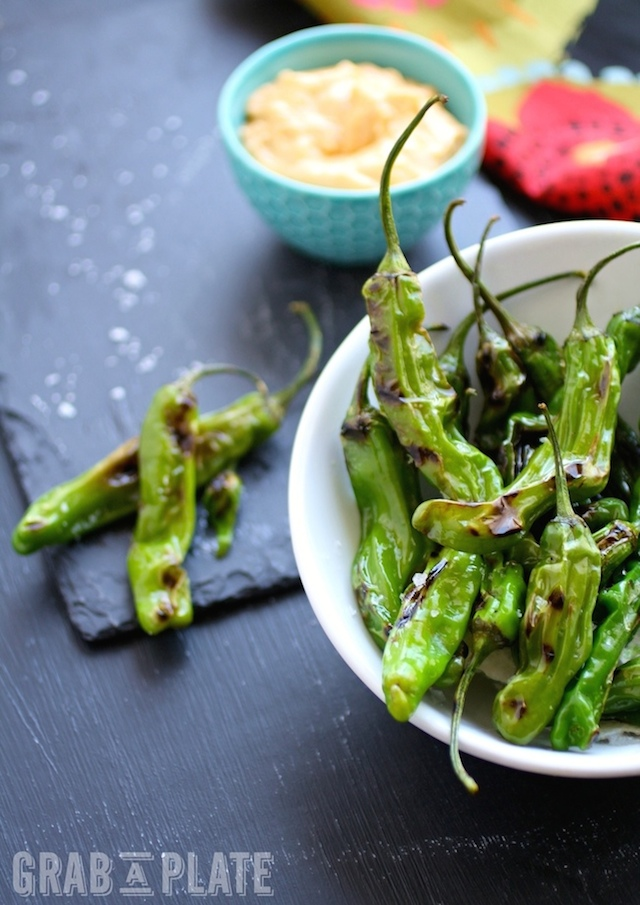You won't be able to stop eating Blistered Shishito Peppers with Smoky Paprika Aioli