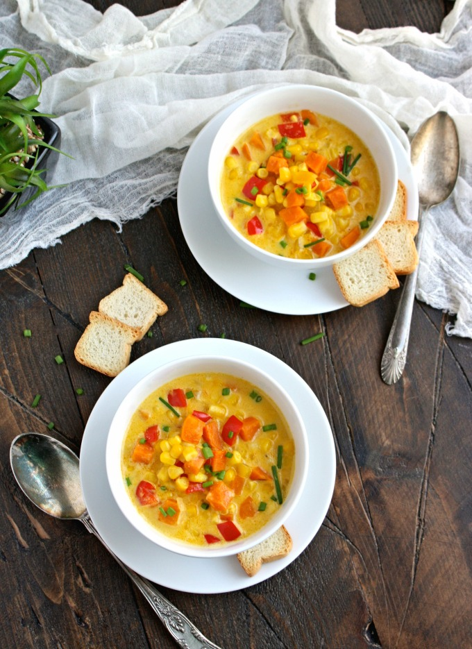 Serve this hearty soup for a delightful between-seasons meal! You'll love Corn and Sweet Potato Chowder with Saffron Cream.