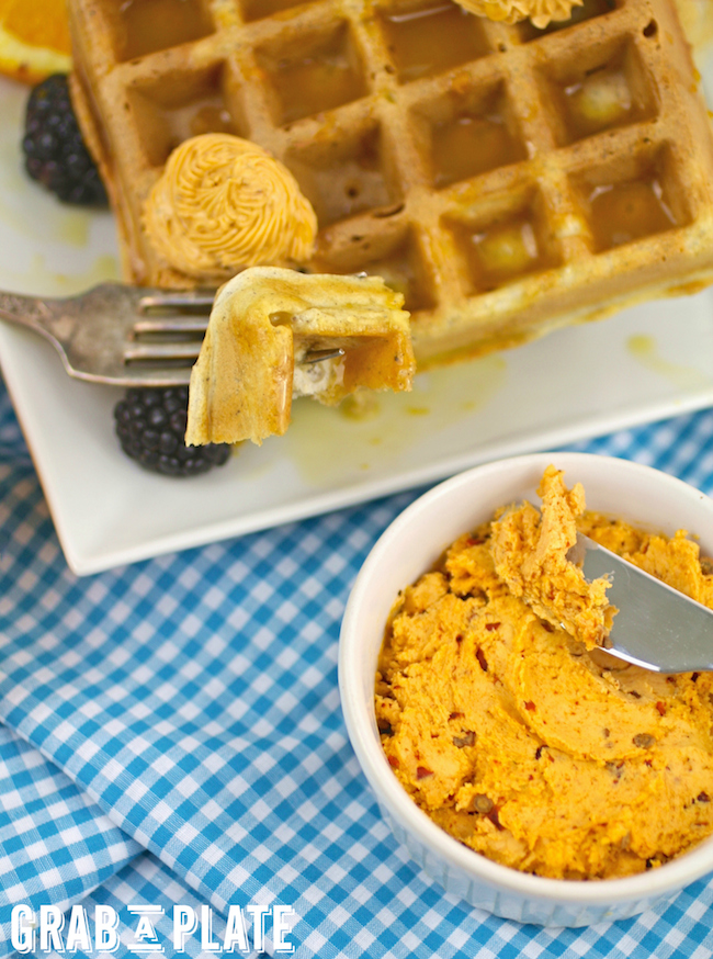 You'll love every bite of Blue Cornmeal Waffles with Chipotle Butter and Orange Syrup