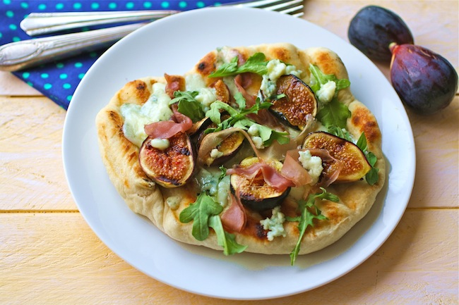 Grill your pizza! Add figs, prosciutto and blue cheese