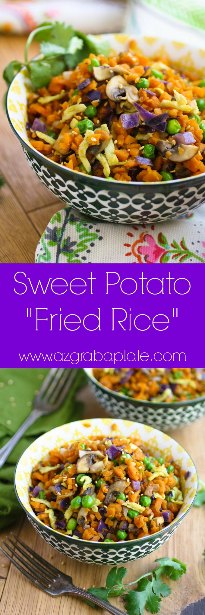 "Sweet Potato ""Fried Rice"" is a colorful and healthy dish your family will love! This is a vegetarian dish perfect for Meatless Monday, or any day of the week!"