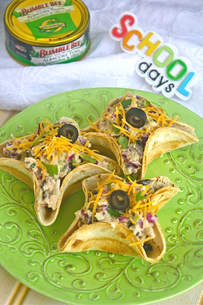 Bumble Bee tuna and a plate of mini taco salad bowls