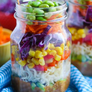 Asian Noodle Salad in a Jar with Spicy Peanut Dressing is a fun way to enjoy a salad. It's full of flavor and great color!