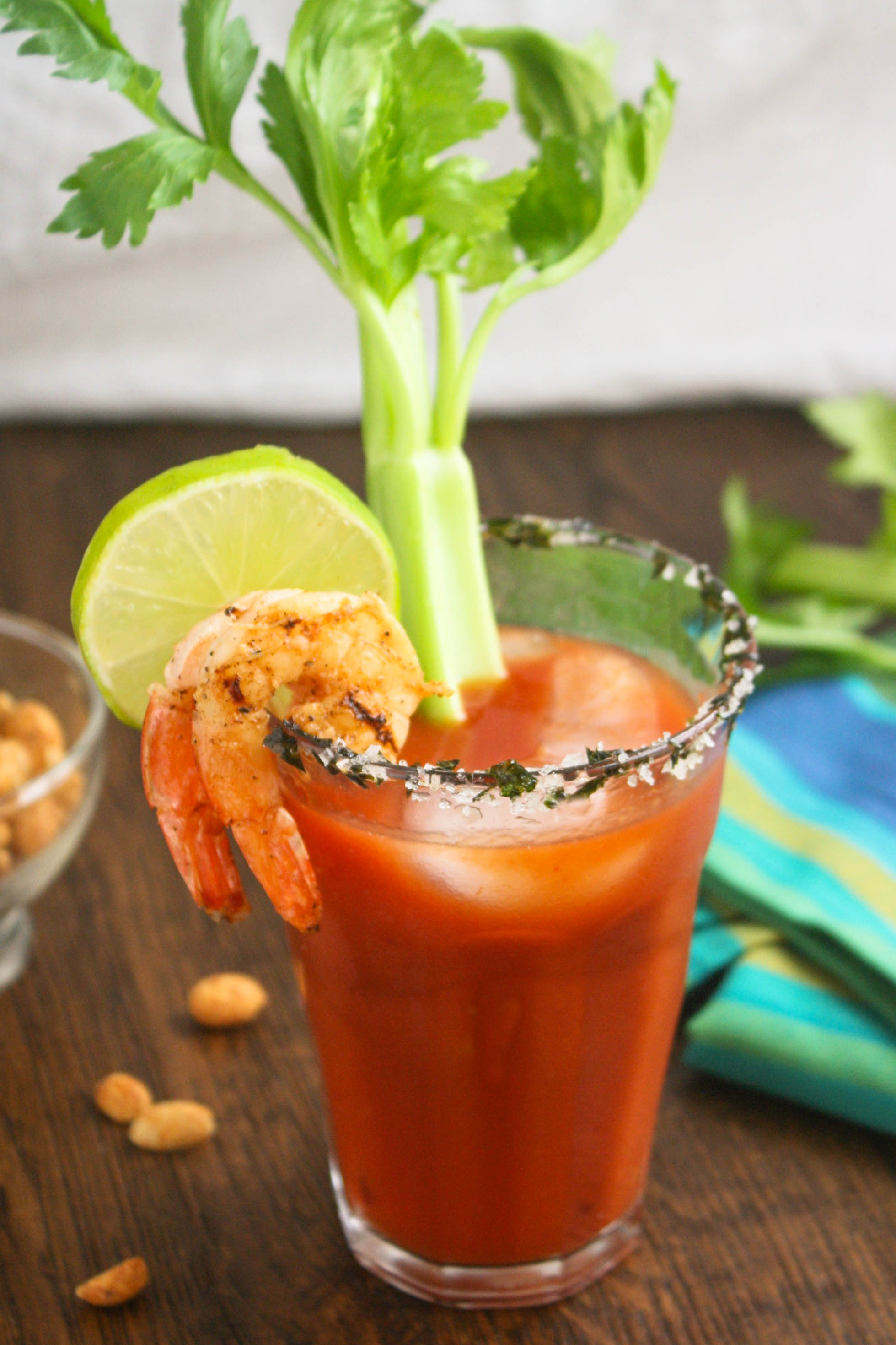 Asian Bloody Mary Cocktails are filled with great flavor. They include a fun garnish, too, and are perfect to serve for your next brunch!