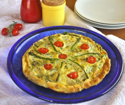 This colofrul Asparagus and Asiago Frittata is full of fab flavor