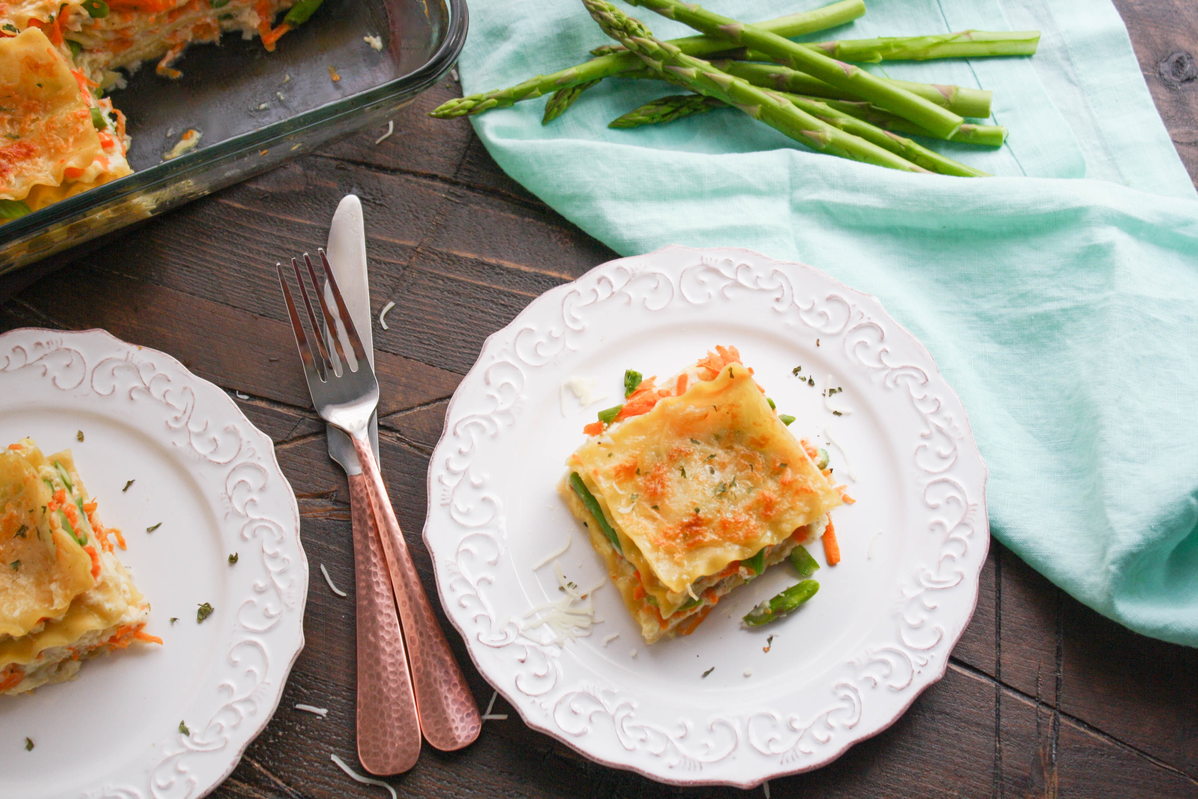 Asparagus and Sweet Potato Lasagna makes a tasty meal for the springtime. Asparagus and Sweet Potato Lasagna is creamy and rich, and delicious!