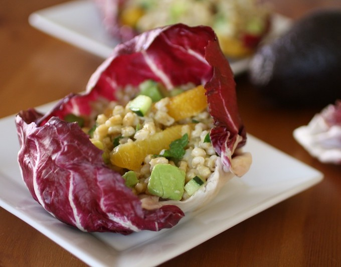 Barley Salad in Radicchio Bowls with Champagne-Orange Vinaigrette