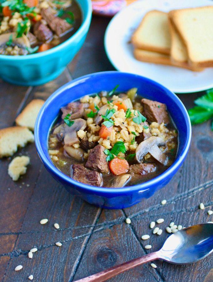 Beef Barley and Mushroom Soup