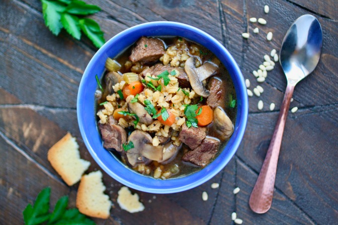 Warm up and fill up with this recipe for Beef Barley and Mushroom Soup!