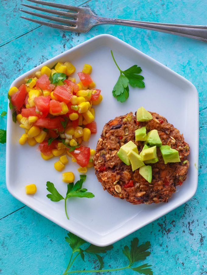 Black Bean Veggie Burgers with Corn Salsa are perfect as a vegetarian meal. These Black Bean Veggie Burgers with Corn Salsa are super tasty!