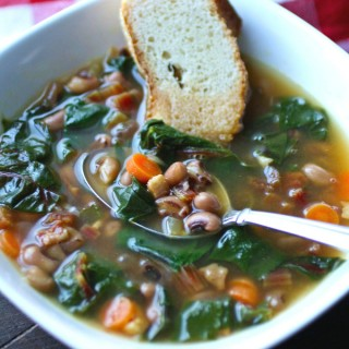 Dig in to a delightful dish, perfect for the new year! Black-Eyed Pea & Swiss Chard Soup with Pancetta is a delight!