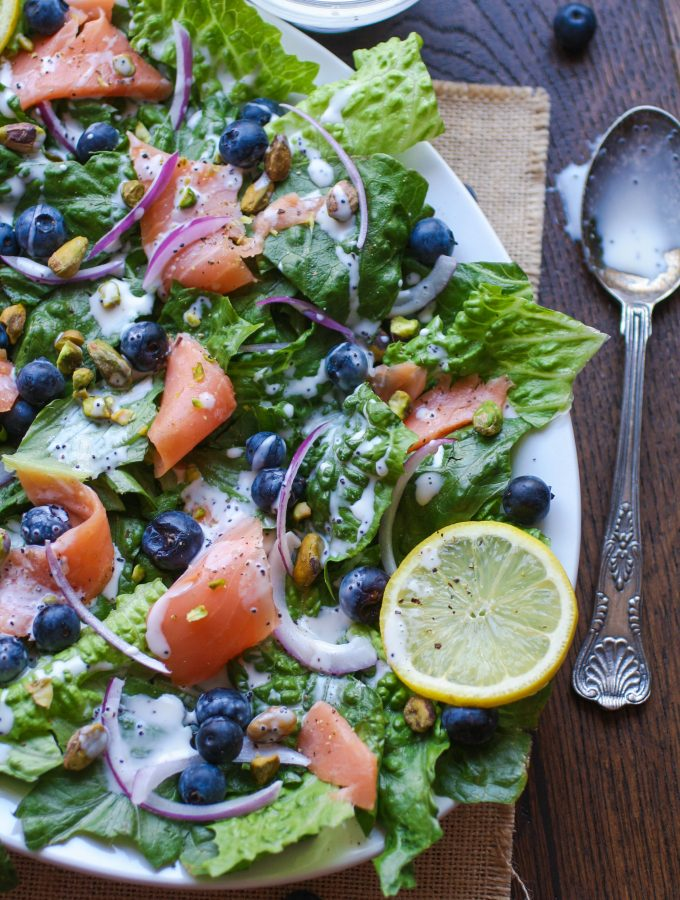 Smoked Salmon Salad with Blueberries and Lemon Poppy Seed Dressing