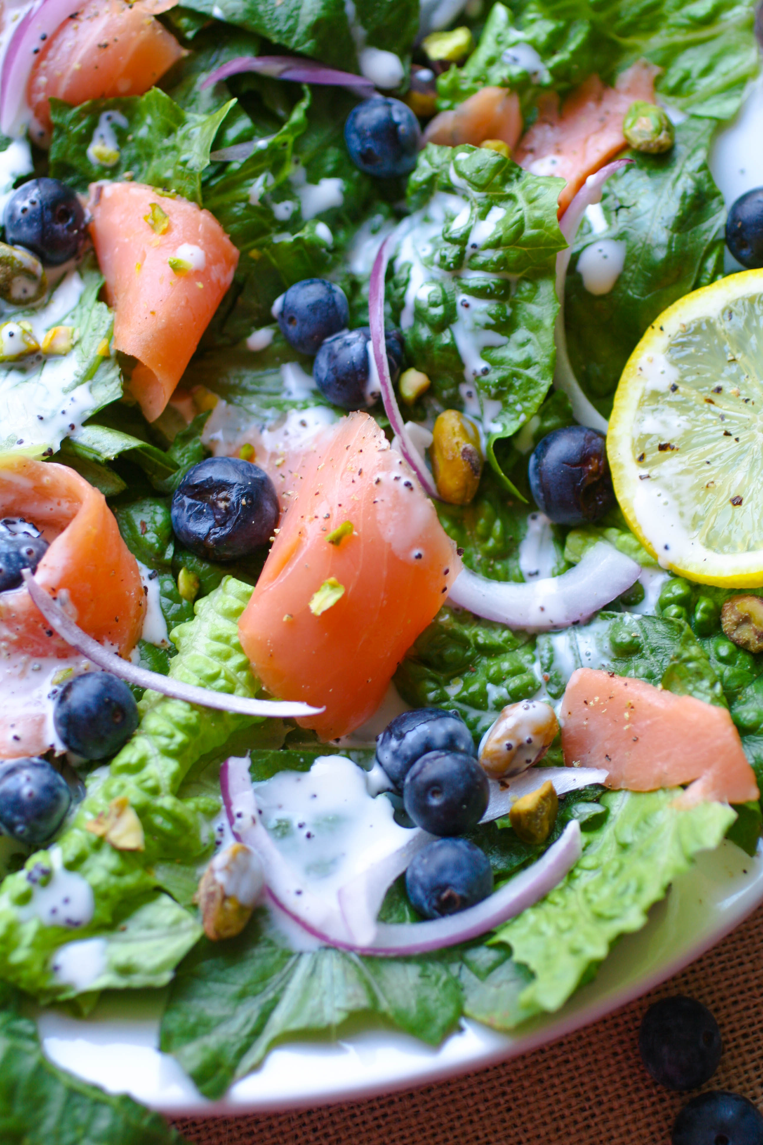 Smoked Salmon Salad with Blueberries and Lemon Poppy Seed Dressing is a filling meal. No oven required for this summer dish.