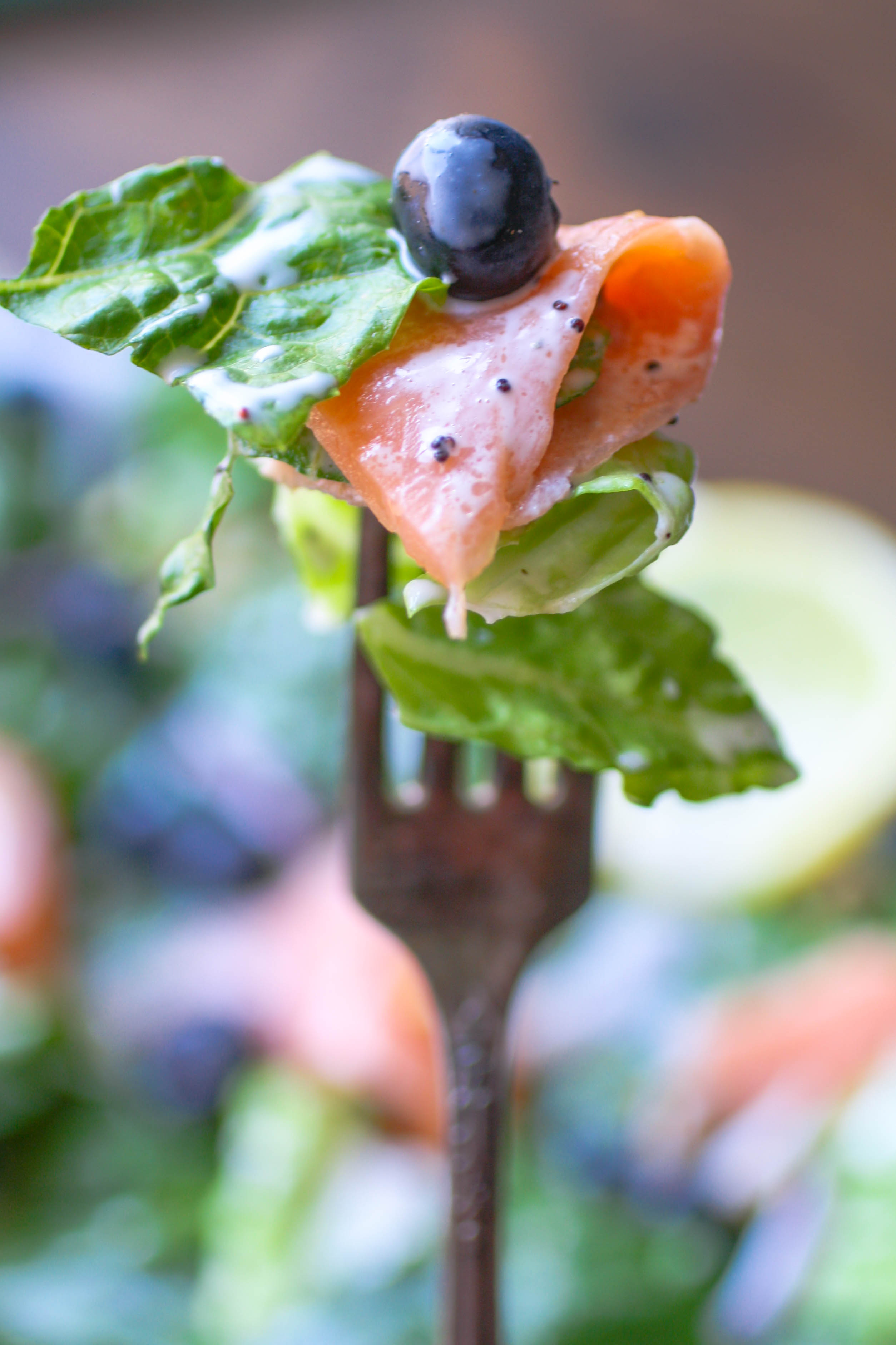 Smoked Salmon Salad with Blueberries and Lemon Poppy Seed Dressing is a delicious summer meal. Each forkful offers delicious flavor!