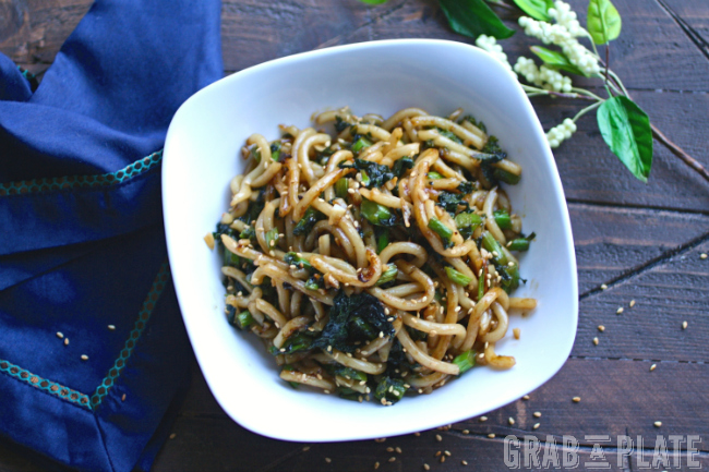 Delight in a bowl of Pan-Fried Udon Noodles with Garlic and Rapini