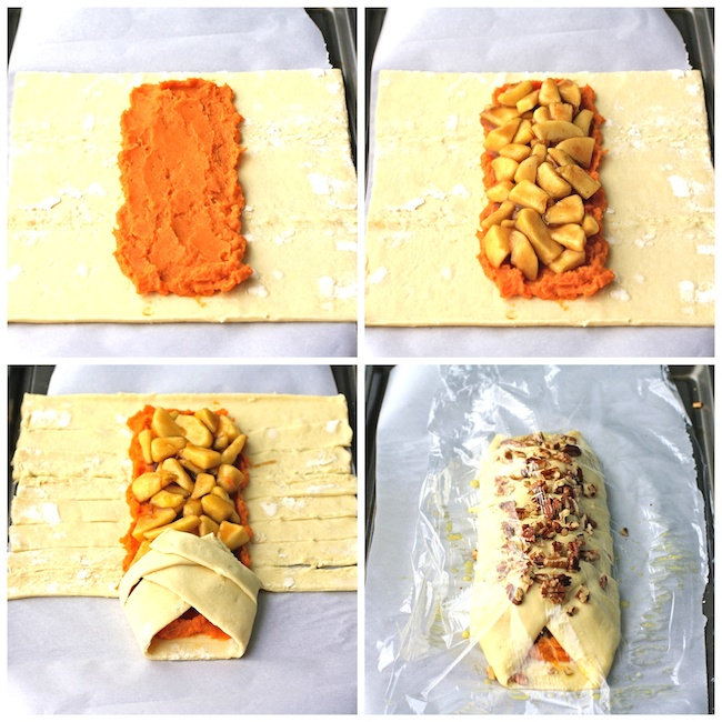 Follow these steps to help prep Apple and Sweet Potato Pastry Braids
