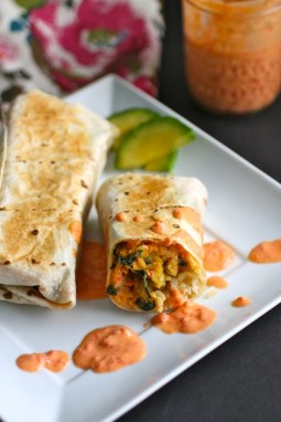 Lentil & Kale Burrito with Roasted Red Pepper-Ranch Sauce