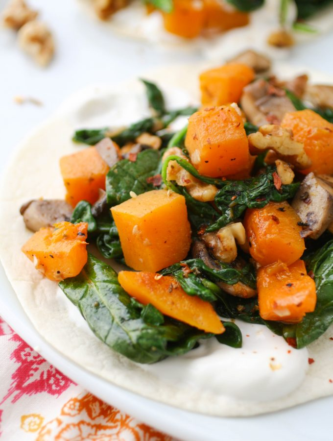 Butternut Squash, Spinach, and Mushroom Tacos