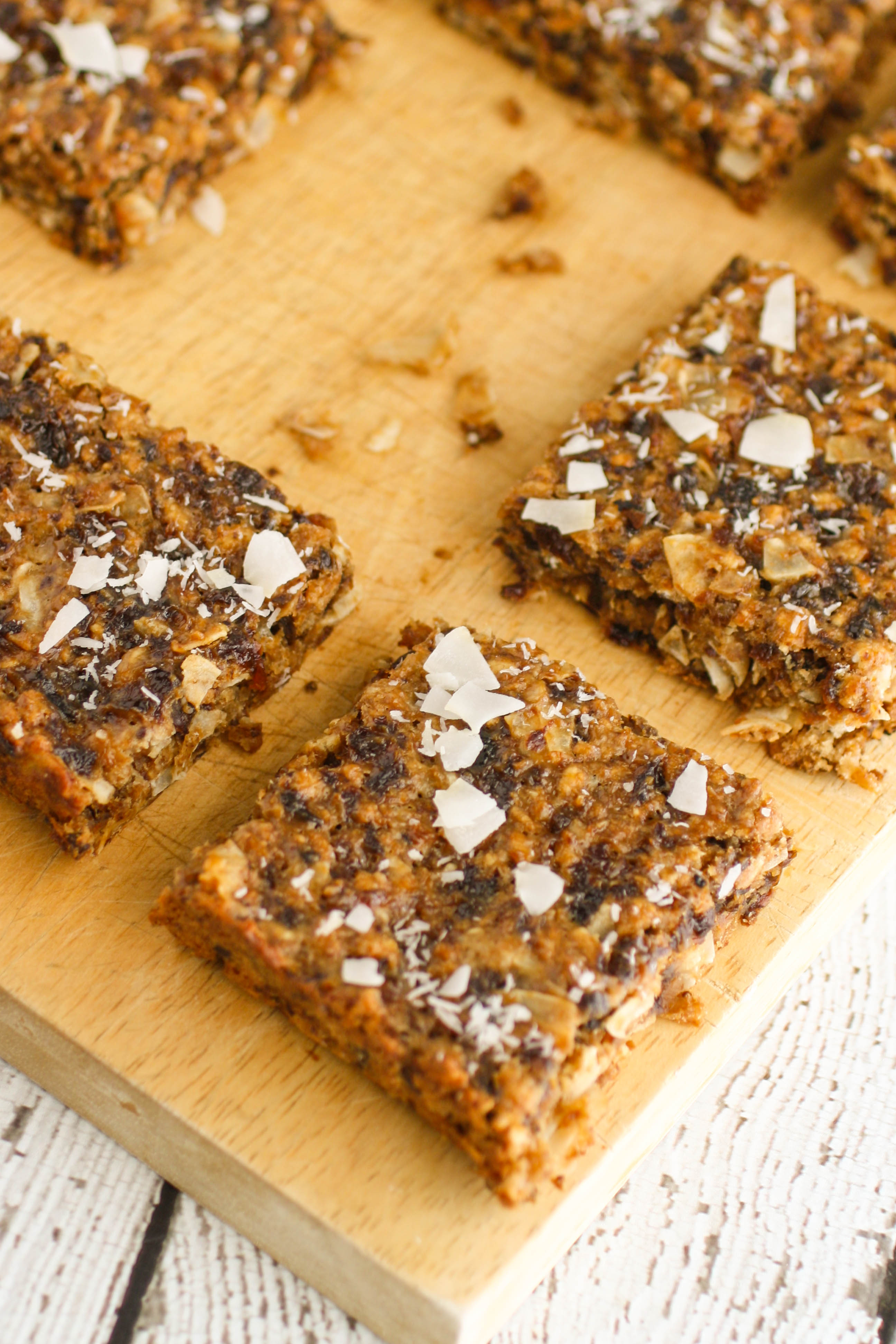 Chewy Coconut and Dried Fruit Bars are a great treat with a healthy vibe. You'll love these chewy coconut bars with dried fruit for their flavor and healthy vibe.