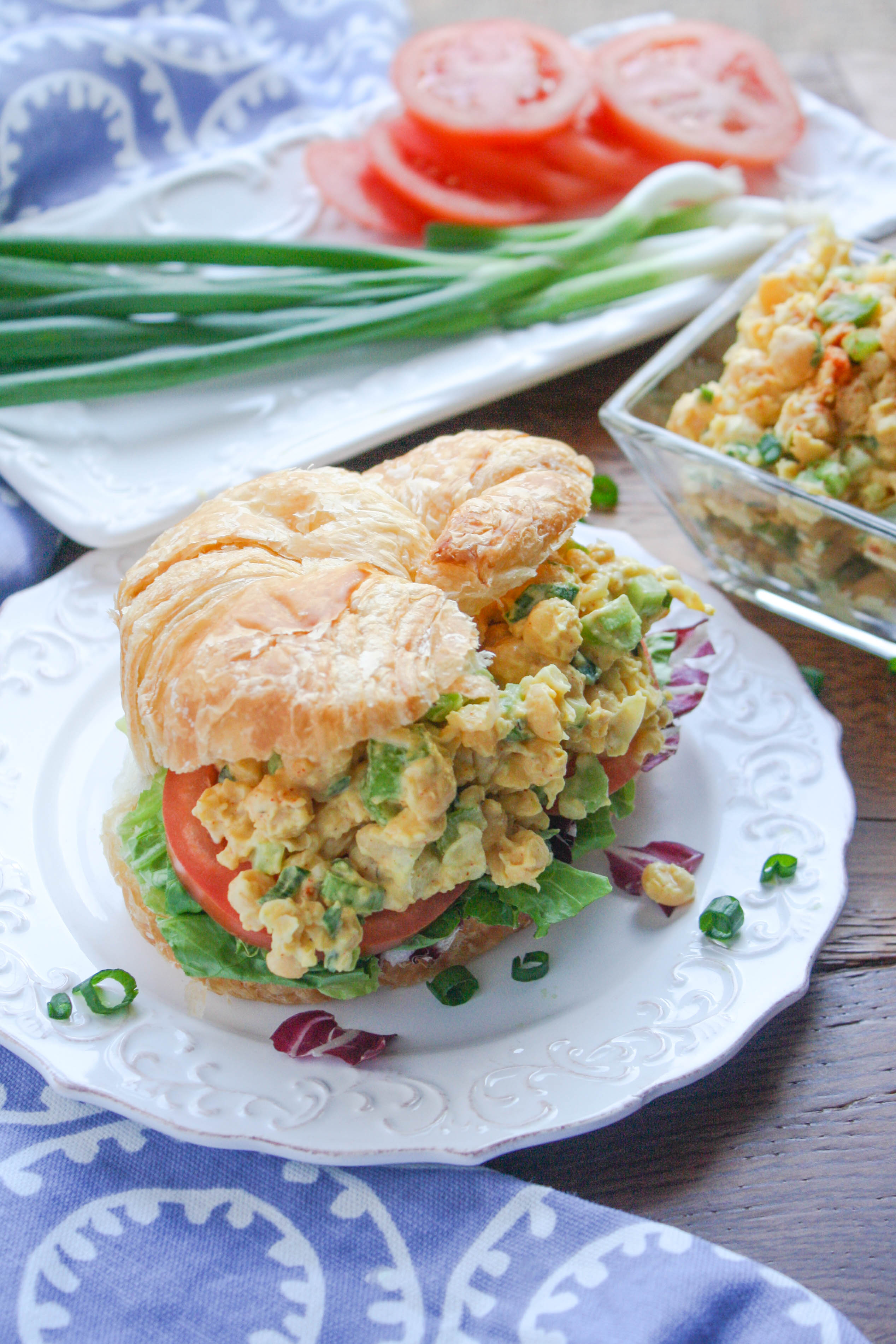 Chickpea Salad Sandwiches are a tasty, meatless option for parties or lunch. These vegetarian sandwiches are so tasty!