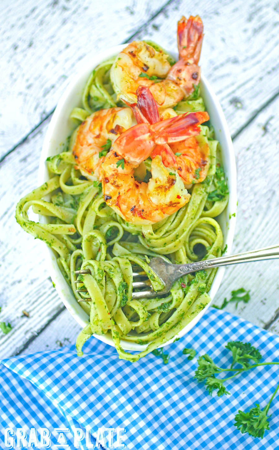 Chimichurri Pasta with Grilled Spicy Shrimp is a simple, flavorful dish. You'll enjoy Chimichurri Pasta with Grilled Spicy Shrimp any night.