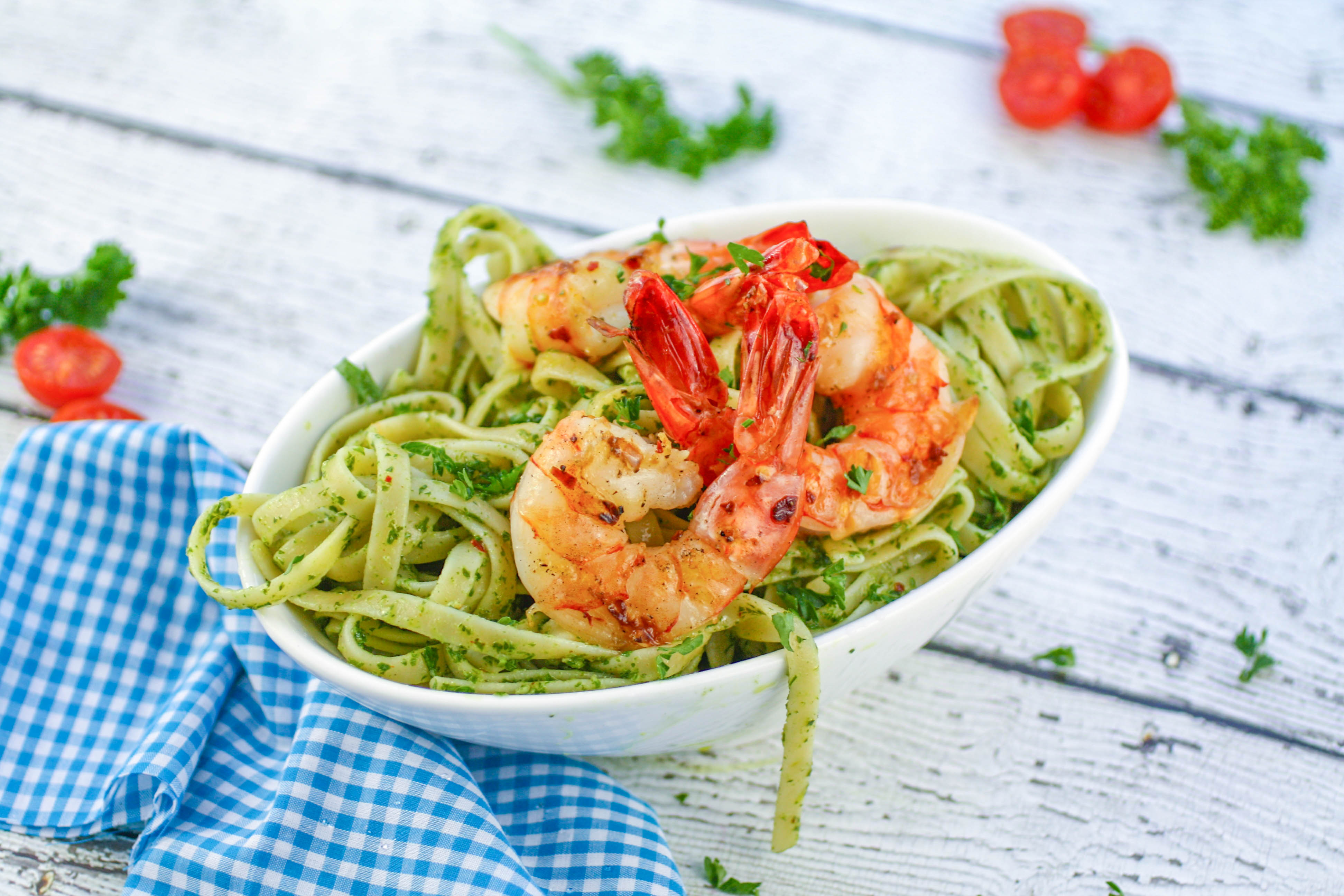 Chimichurri Pasta with Grilled Spicy Shrimp is perfect any night of the week. Chimichurri Pasta with Grilled Spicy Shrimp is an ideal meal during Lent.