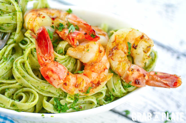 Chimichurri Pasta with Grilled Spicy Shrimp is a delightful, light dish. You'll love the color and flavor in Chimichurri Pasta with Grilled Spicy Shrimp.