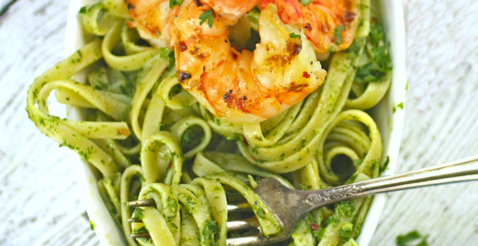 Chimichurri Pasta with Grilled Spicy Shrimp