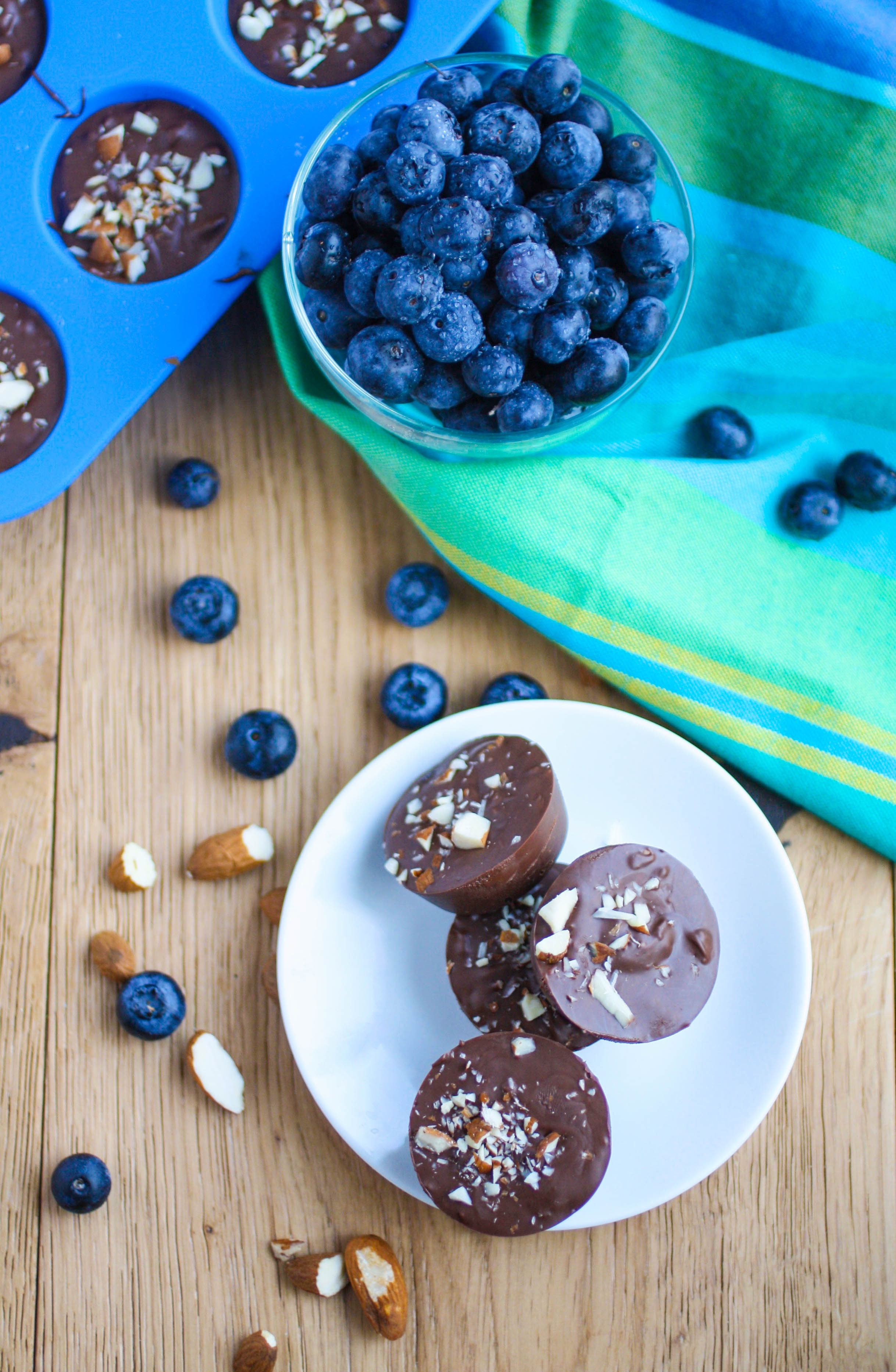 Chocolate Almond Blueberry Bites are an easy-to-make treat anytime you're craving chocolate. You'll love these candies!