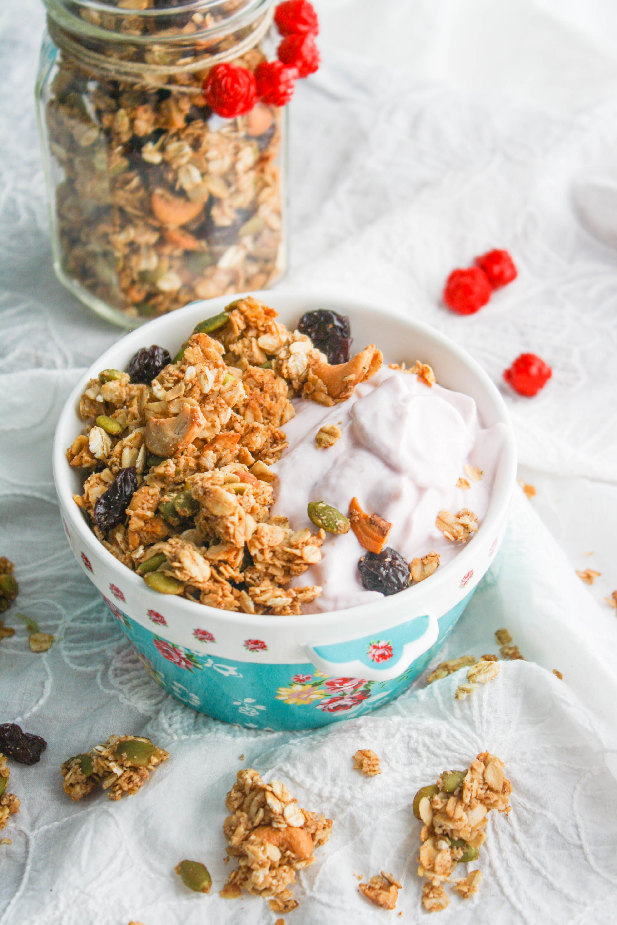Chunky Cherry-Chai Granola is perfect served over yogurt! Homemade granola goes perfectly with yogurt and so much more!