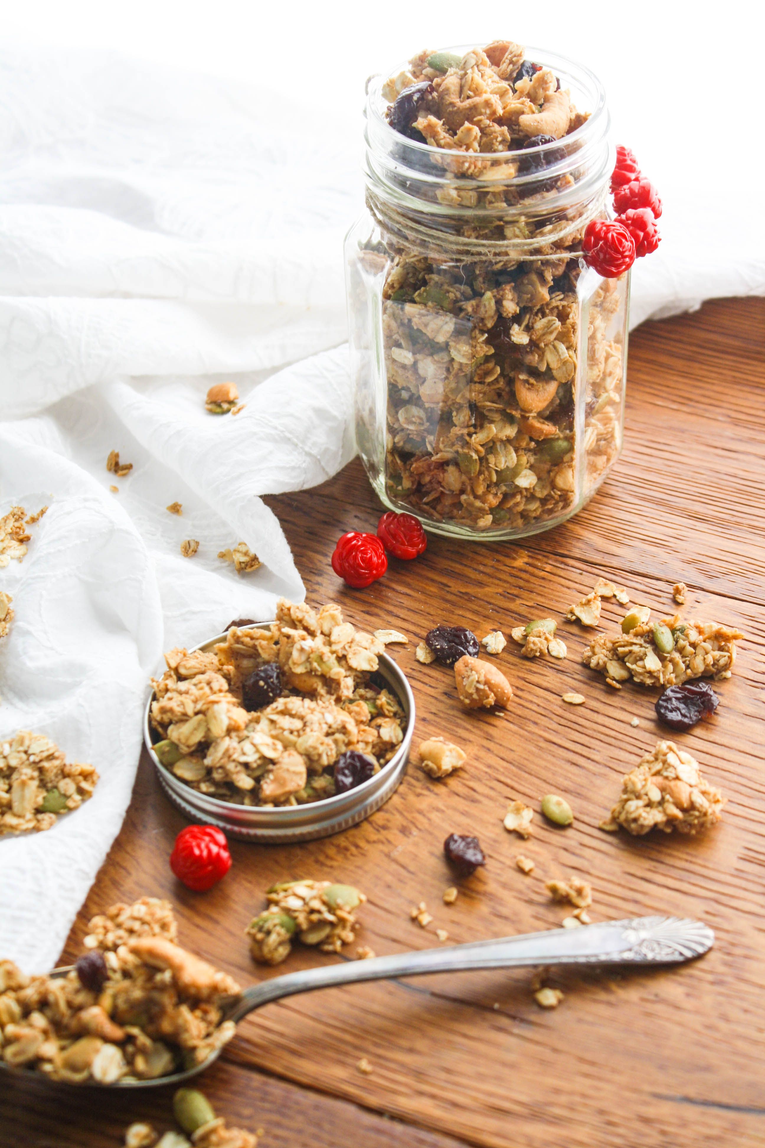Chunky Cherry-Chai Granola is a wonderful homemade treat! You'll love this homemade granola to munch on, or to give as a homemade gift.