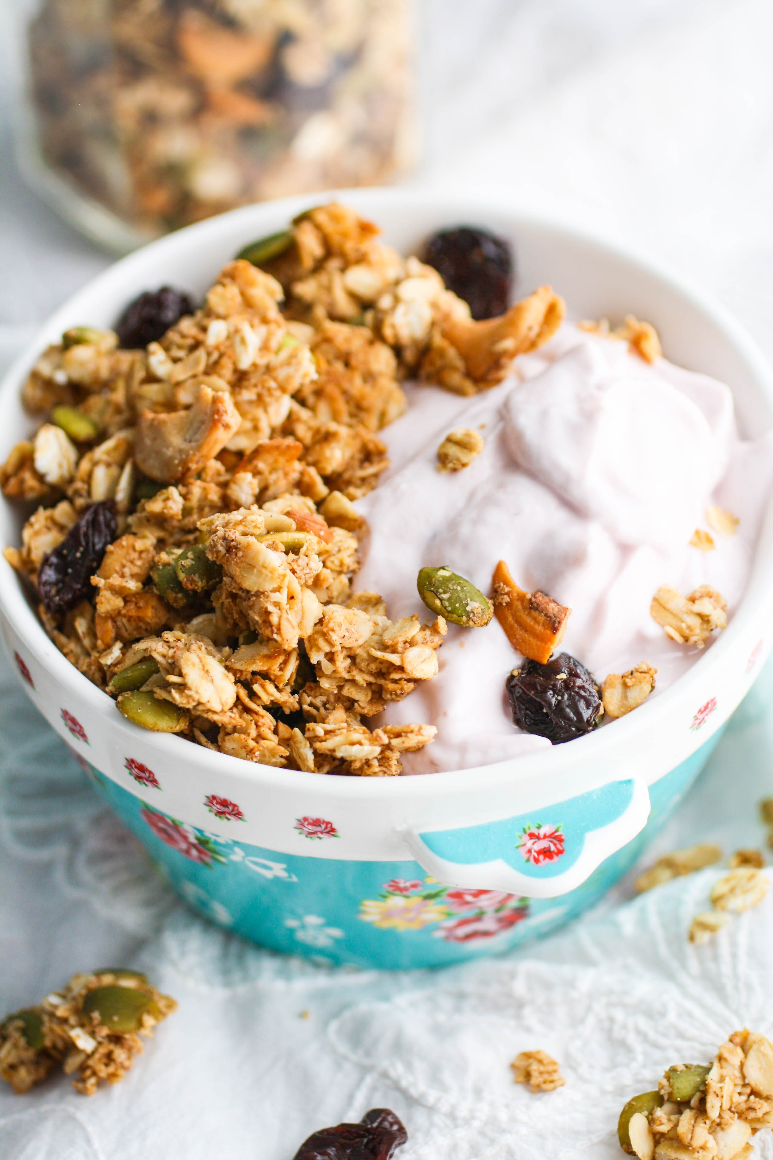 Chunky Cherry-Chai Granola is the perfect granola for the fall and winter seasons. You'll love this homemade granola for eating with all sorts of things!