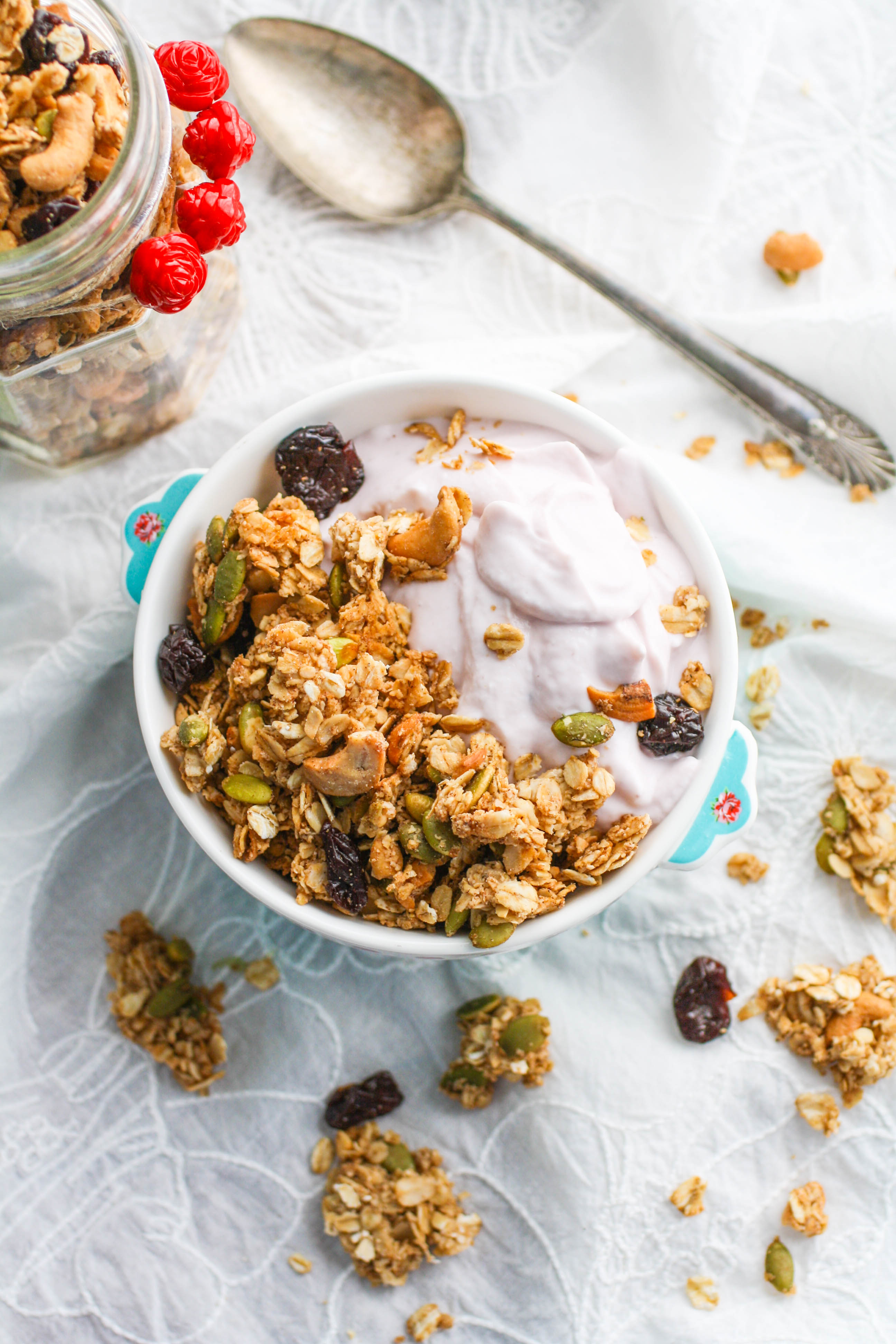 Chunky Cherry-Chai Granola is a wonderful addition to your morning meal. You'll love this homemade granola and how easy it is to make.