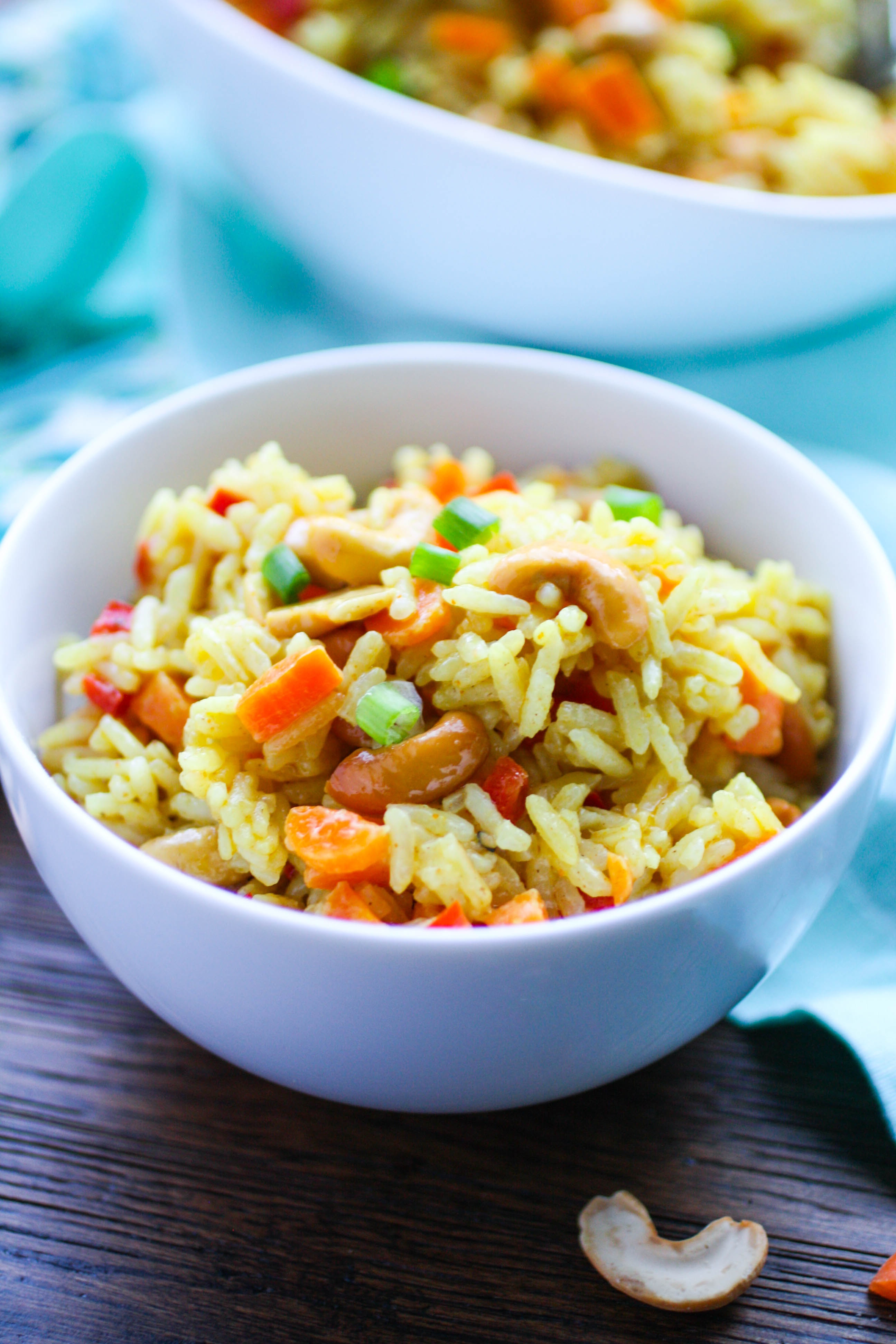 Coconut Carrot and Cashew Rice Pilaf is great as a side dish or as a main dish. Serve it on Meatless Monday, or any day of the week!