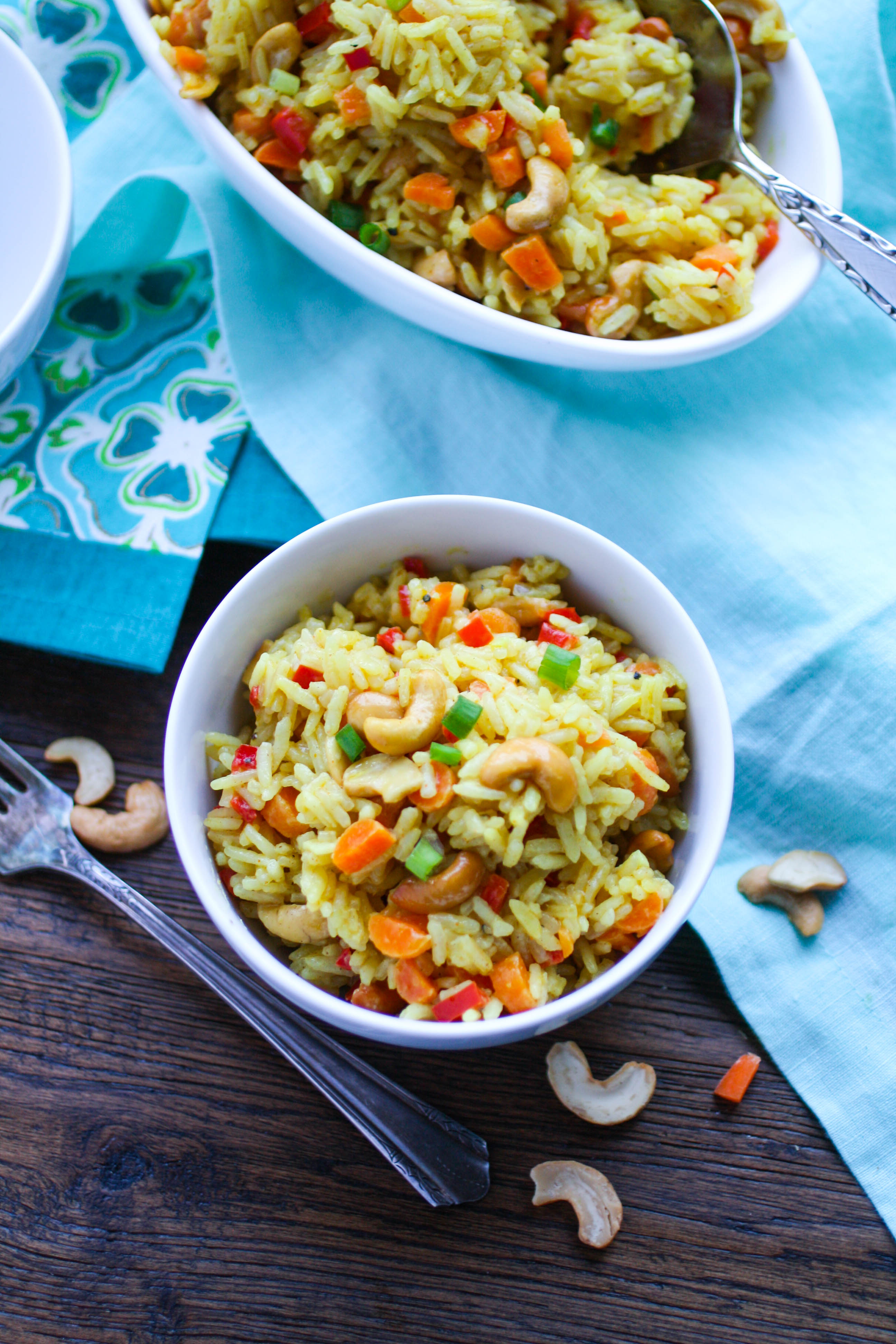 Coconut Carrot and Cashew Rice Pilaf is a colorful and flavorful side dish. This rice pilaf is so easy to make, and so delicious!