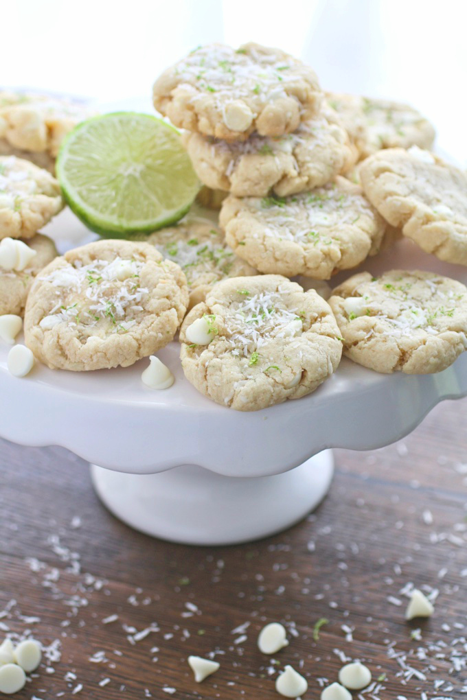 Coconut-Lime White Chocolate Chip Cookies easily pile high for a tropical-like cookie treat! You'll enjoy sharing these cookies!