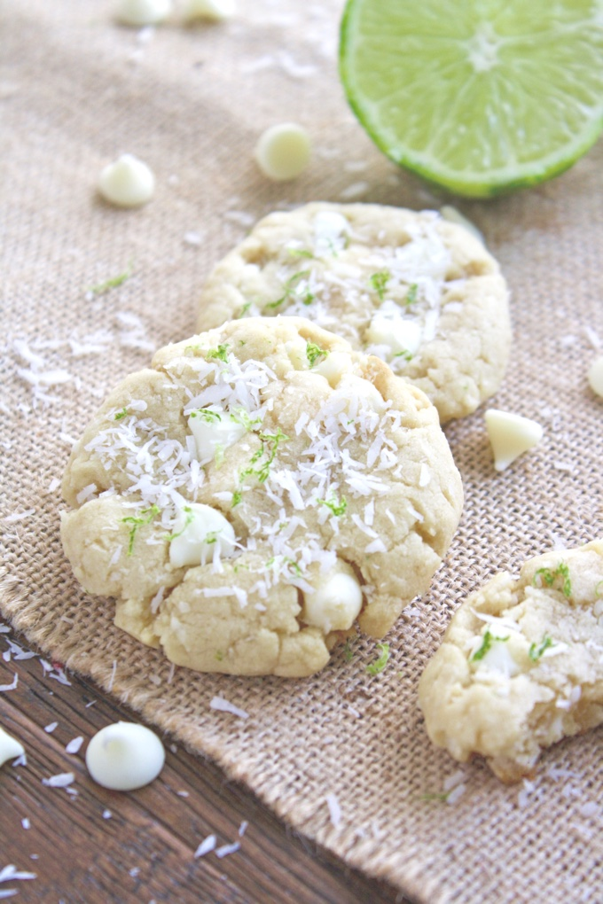 Coconut-Lime White Chocolate Chip Cookies make a fun treat. These cookies are perfect to serve at Easter, too!