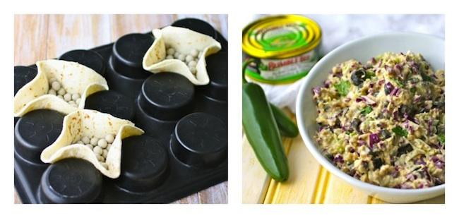 making mini, edible taco bowls, and a dish or jalapeno tuna salad