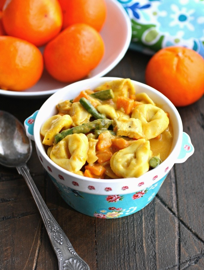 Curried Vegetable & Chicken Tortellini Soup