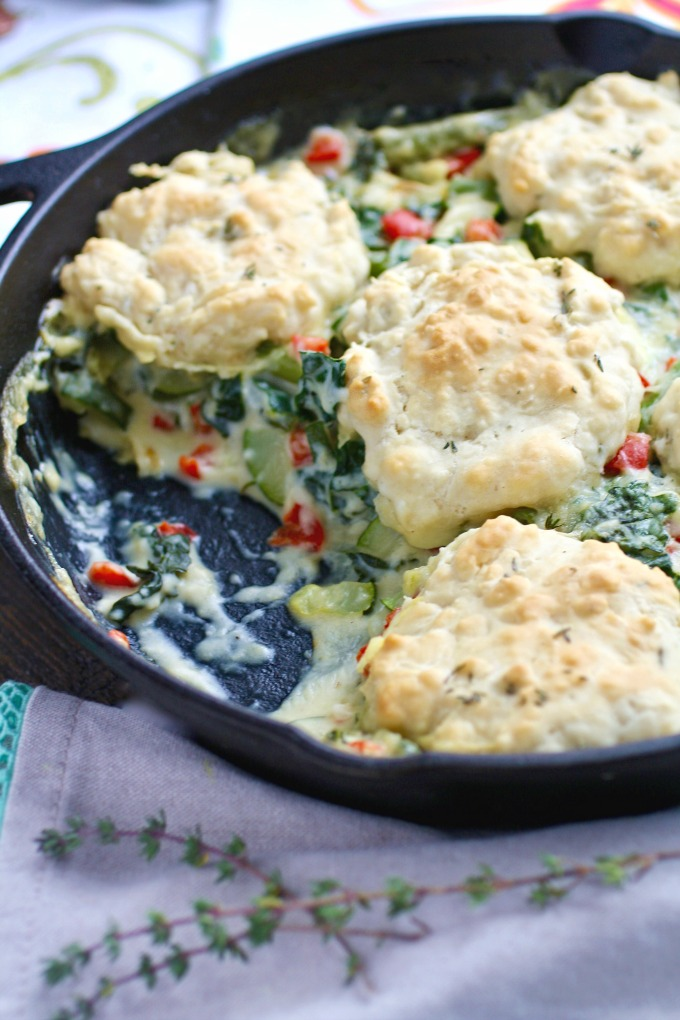 Looking for a wonderful vegetarian meal? Try Creamy Skillet Veggies with Homemade Drop Biscuits!